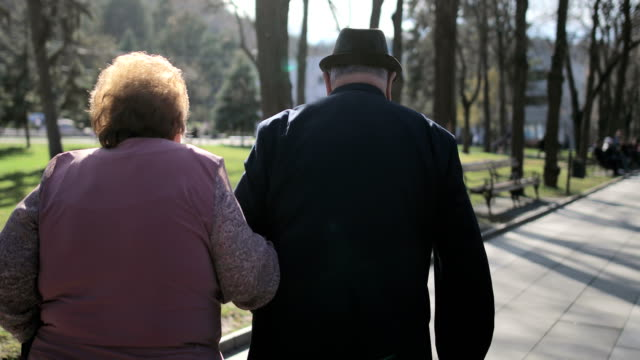 60 years in marriage.elderly couple walking in the spa park - fedeltà video stock e b–roll
