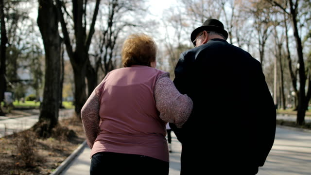 60 years in marriage.simpatical elderly couple walking in the spa park - fedeltà video stock e b–roll
