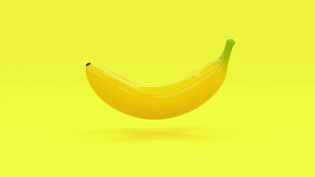 yellow abstract banana cartoon style 3d rendering food/fruits healthy concept