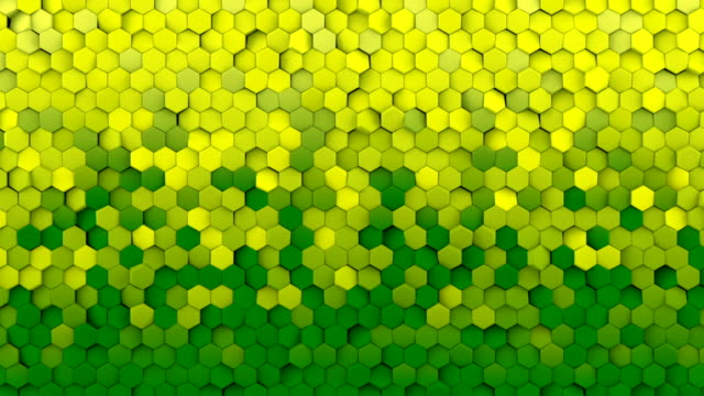 Yellow and green hexagons seamless loop abstract 3D animation video