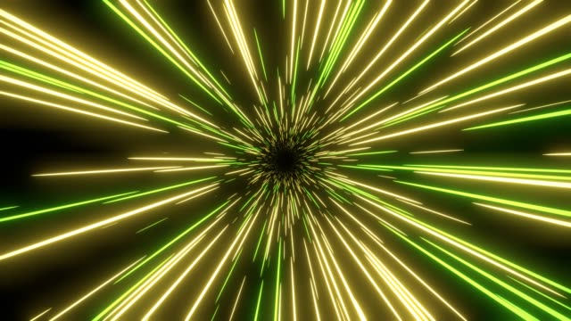 Gele en groene snelheidslicht abstracte achtergrond. Loop able Sci-fi tunnel achtergrond. video