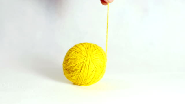 Yellow ball of wool. video