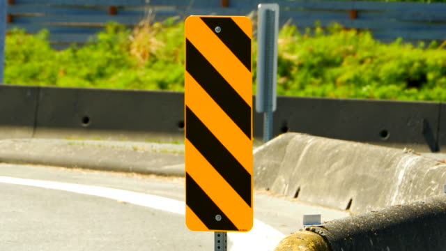 Yellow Barrier Traffic Signage, Caution Stripes Pattern on Street