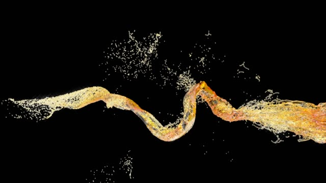 yellow beer splash on white background. isolated illustration white background. 4k - brandy video stock e b–roll