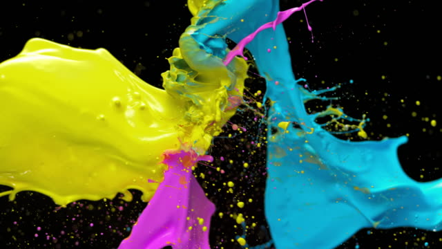 slo mo yellow, blue and pink color collision - vivid 4k video stock videos & royalty-free footage