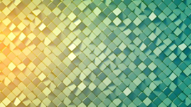 stockvideo's en b-roll-footage met geel blauwe kleurovergang rhomb mozaïek oppervlakte 3d render loopbare - mozaïek