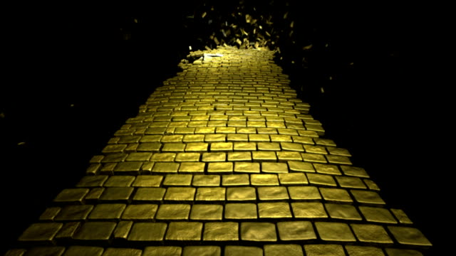 Yellow Brick Road Winding Yellow Brick Road Being Ripped Up From Background To Foreground, CGI With Luma Matte yellow stock videos & royalty-free footage