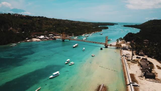Yellow Bridge Of Nusa Lembongan Connecting Two Tropical Island In Bali 4K video