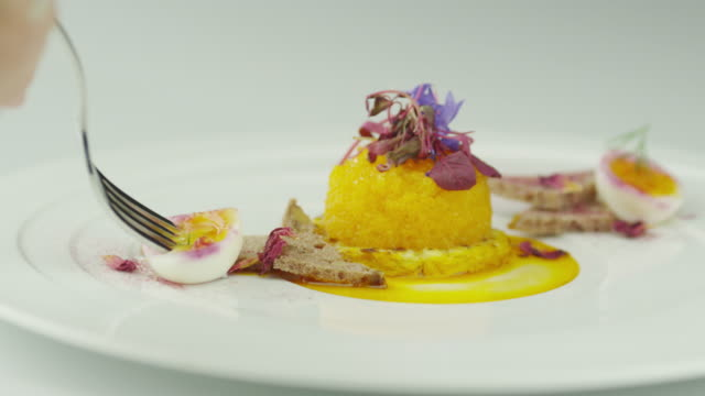 Yellow Caviar Dish in Luxury Restaurant video