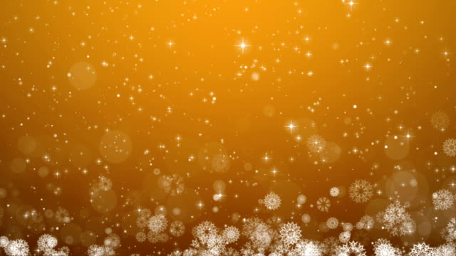Yellow Christmas Background. Winter Card with Snowflakes, Stars and Snow. video