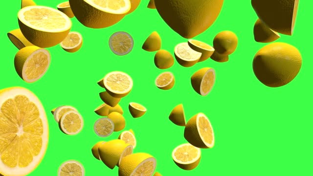 Yellow citrus lemon 3D, two video transitions isolated on a green screen, footage4K Food 3D element, two video transition isolated on a green screen, footage4K citrus fruit videos stock videos & royalty-free footage