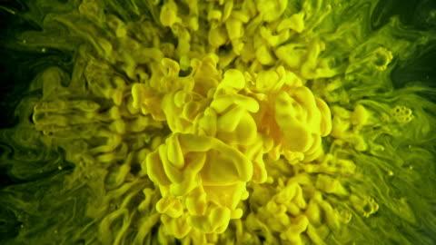 slo mo spruzzo di colore giallo sotto l'acqua - idea video stock e b–roll