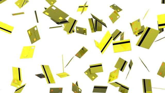 Gele credit cards op witte achtergrond video