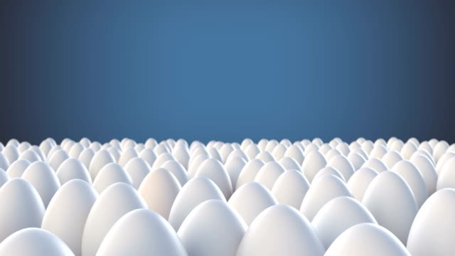 Yellow egg standing out from crowd mass concept