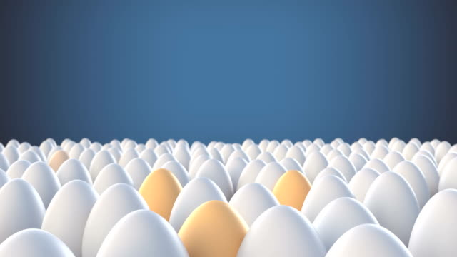 Yellow eggs standing out from crowd mass concept
