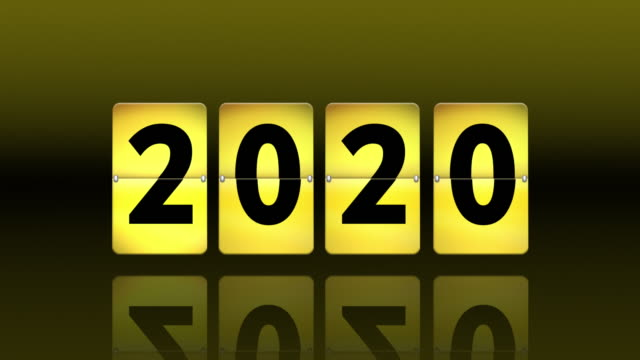 vídeos de stock e filmes b-roll de yellow flip clock countdown. turning to 2020 - mês
