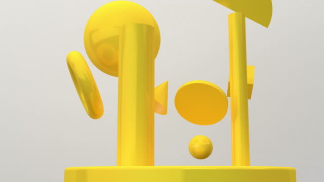 Yellow Geometric moving flow on white background, 3D rendering, Concept: Abstract background , Motion graphic , Party.