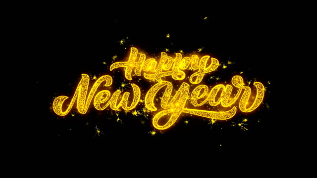 yellow gold sparkly glitter lights and glowing happy new year 2019 word text on black background 4K. Greeting card, Celebration, Party Invitation, calendar, Gift, Events, Message, Holiday, Wishes. yellow gold sparkly glitter lights and glowing happy new year 2019 word text on black background 4K. Greeting card, Celebration, Party Invitation, calendar, Gift, Events, Message, Holiday, Wishes. 2020 stock videos & royalty-free footage