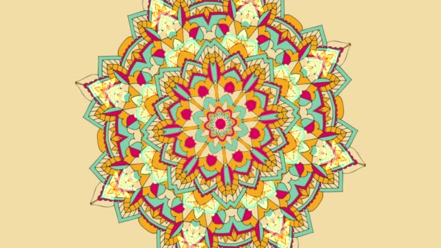 Yellow kaleidoscope sequence patterns. Flower mandala loop
