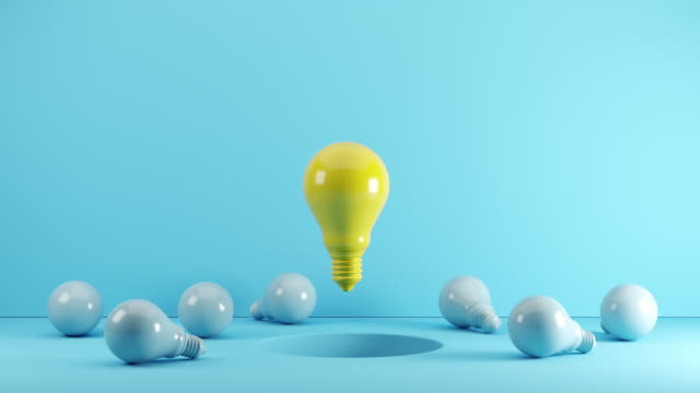 yellow light bulb floating from hole among blue light bulb on floor. 3d animation - lightbulb stock videos & royalty-free footage