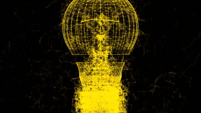 vídeos de stock, filmes e b-roll de lâmpada amarela zoom plexo 4k animação vídeo clip. - clipe