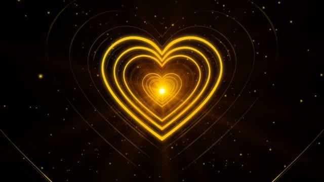 Yellow Looping Abstract Heart Shape Seamless