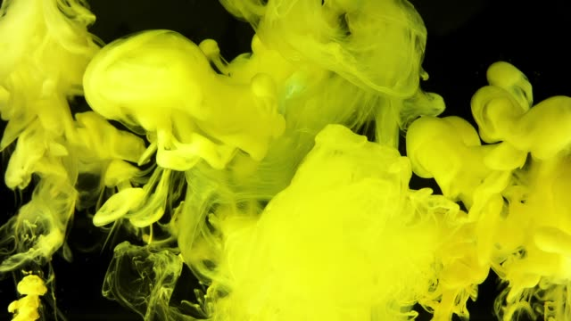 Yellow magic abstraction on black background. video