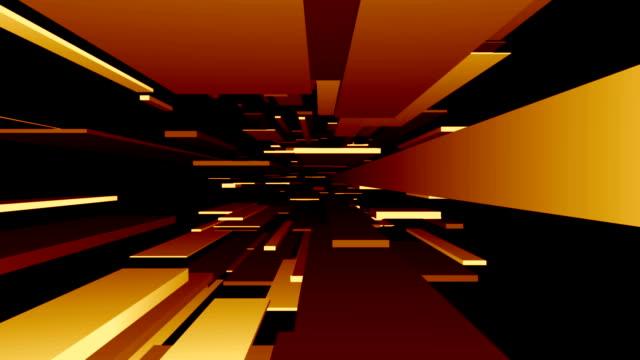 Yellow / Orange Blocks Tunnel Loop   Abstract Futuristic Animation video