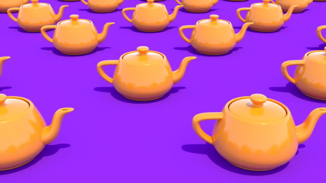 Yellow orange teapot Top view minimalistic cover footage able to loop seamless 4k