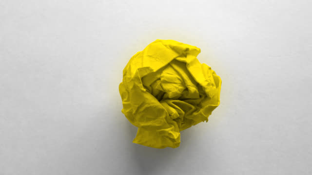 Yellow paper ball wrinkled