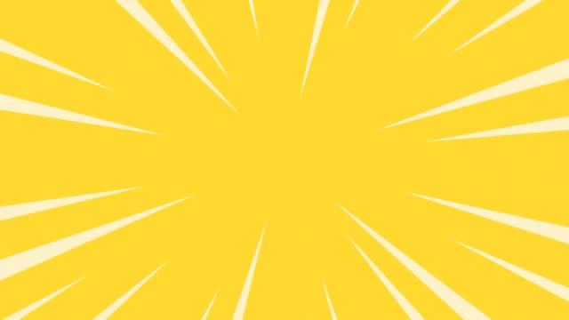 Gele radiale anime lijnachtergrond. video