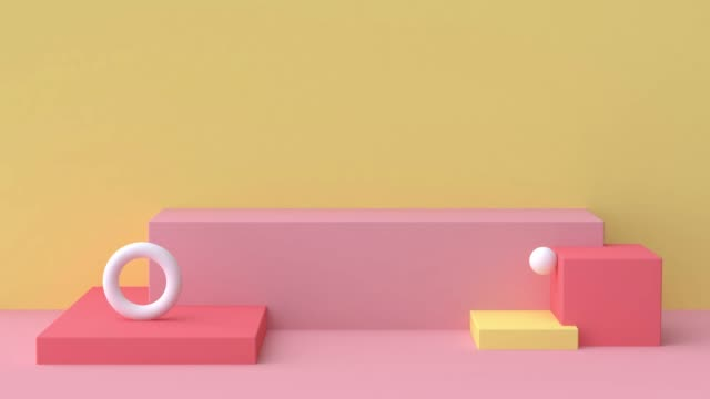yellow red pink white scene abstract geometric shape 3d rendering motion graphic - opis filmów i materiałów b-roll