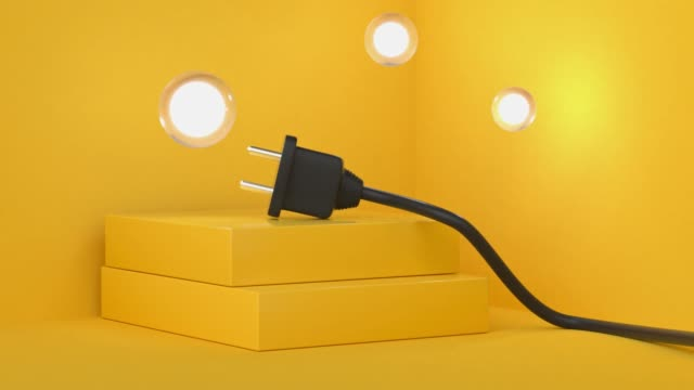 yellow scene abstract motion black power line plug 3d render video