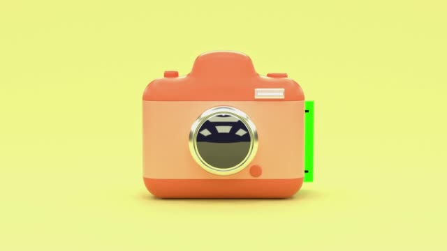 yellow scene pink camera cartoon style blank green screen postcard levitation 3d rendering technology photography concept - postcard стоковые видео и кадры b-roll