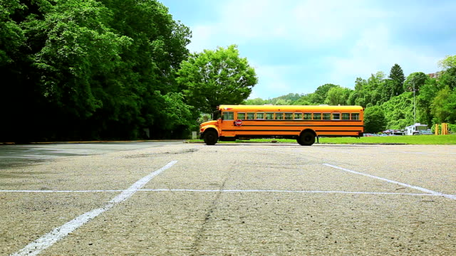 Yellow school bus on the parking video