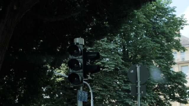 yellow signal traffic light in daylight - segnale per macchine e pedoni video stock e b–roll