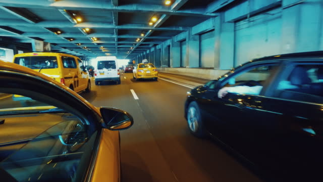 Yellow taxi cab driving in New York POV video