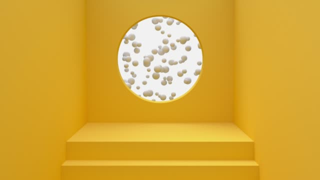 yellow wall floor staircase circle hole ball levitation 3d rendering motion