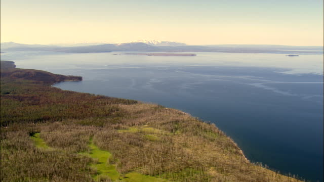 Yellowstone Lake From the East  - Aerial View - Wyoming,  Park County,  helicopter filming,  aerial video,  cineflex,  establishing shot,  United States video