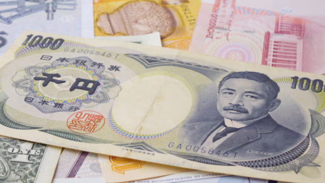 Yen Banknote Turning 2 Clips In 1 Stock Footage Slow & Fast. video