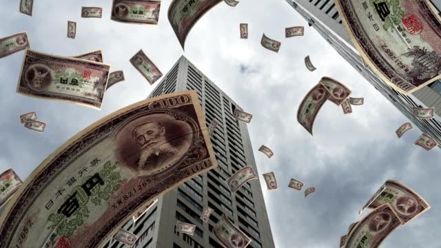 yen fliegen in stadt - 4k auflösung - inflation stock-videos und b-roll-filmmaterial