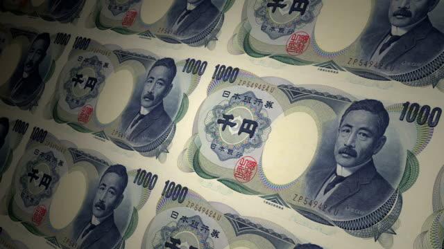 1000 yen giapponese valuta locale carta denaro - reso video stock e b–roll