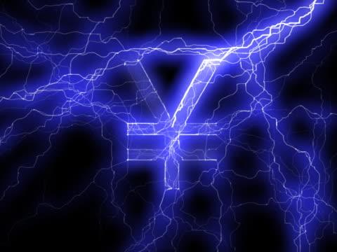 vídeos y material grabado en eventos de stock de pal: símbolo del yen en lightning - accesorio financiero