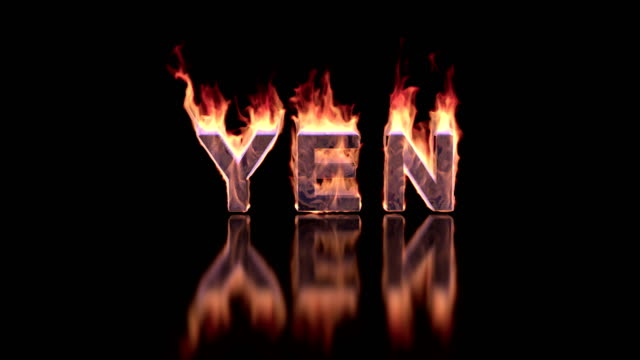 yen word burning in flames on the glossy surface, financial 3D illustration background video