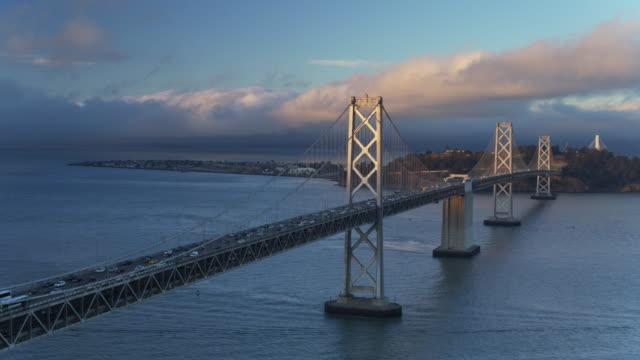 Yerba Buena and Treasure Island and the Bay Bridge - Drone Shot