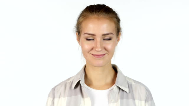Yes, Accepting Offer, Portrait of Beautiful Girl Shaking Head, White Background