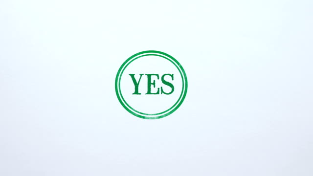 Yes seal stamped on blank paper background, access allowed, choice made