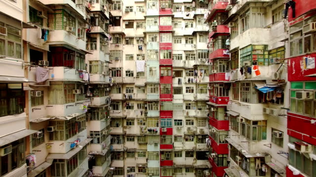 Yick Cheong Buildings, Quarry Bay, Hong Kong by Drone Yick Cheong Buildings in Quarry Bay, Hong Kong by drone. poverty stock videos & royalty-free footage