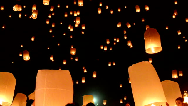 yii peng lanterns - sky lantern stock videos and b-roll footage