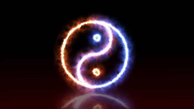 sfondo di yin yang - ice on fire video stock e b–roll